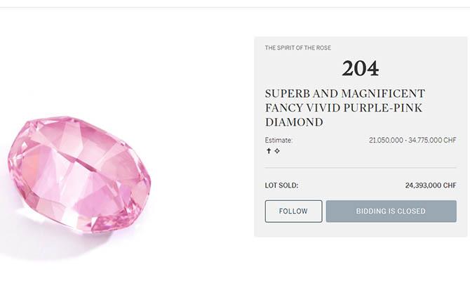 Розовый бриллиант продали на аукционе в Женеве за $26,6 млн